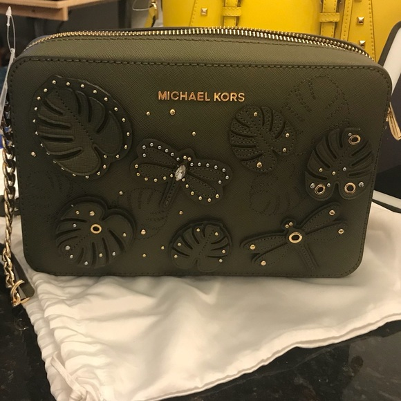 71010998f63548 Michael Kors Bags | Dragonfly Leather Lg Crossbody Bag | Poshmark